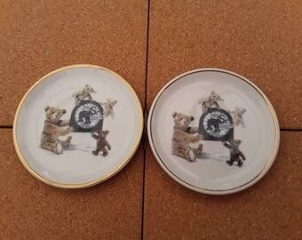 Pair of Steiff bear wall plates.
