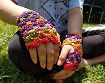 Fingerless Gloves -- Bright Rainbow