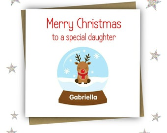 Personalised Christmas Card, Christmas Card For Daughter, Childrens Christmas Card, Granddaughter, Niece, Sister