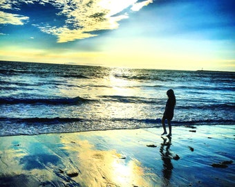 Beach time at Corona Del Mar Photograph Print, Orange County California Ocean Sunset, Young Girl Child Silhouette, Home Decor, Wall Art