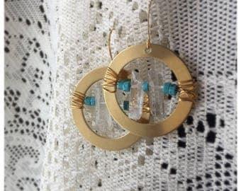 Gemstone wire wrapped dangling earring