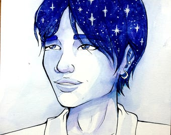 Jimin and Stars - Original Celebrity Portrait Illustration - Jimin Park from BTS Watercolor Painting / Ink Drawing