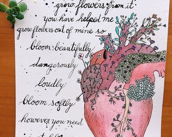 Calligraphed Rupi Kaur Stay Strong poem with watercolor heart and flowers