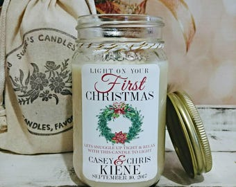 Christmas Wedding Gift - Our First Christmas Wedding - Christmas Gift for Couple - Wedding Milestone - Newlyweds Christmas Candle Gift