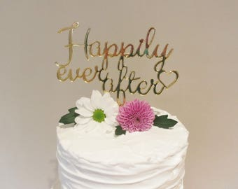 Gold Mirrored Acrylic Happily Ever After Cake Topper For Wedding Cake