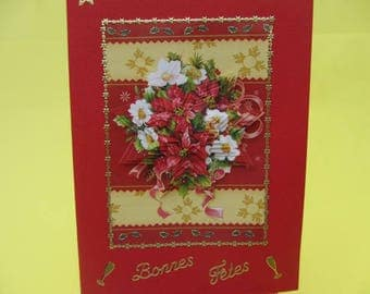 Pretty bouquet of Christmas card 3D (embossed) embellished with stickers gold and good holidays