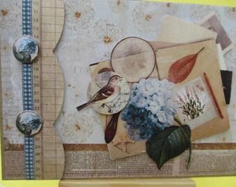 Map Theme: spring (embossed) 3-d bird and hydrangeas