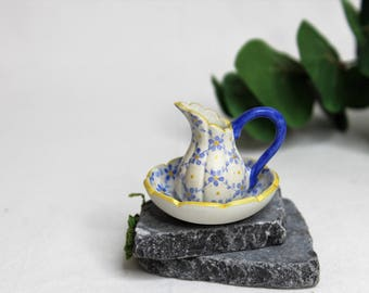 Dollhouse Miniature Pitcher and Bowl, Semi Matte Finish Porcelain, Hand Painted with Blue Floral Design, Gold Trim, Vintage Style