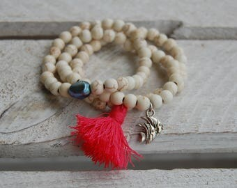 Howlite white natural bead bracelet with tassel, charm or freshwater cultured pearl