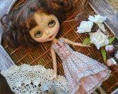Blythe dress, Blythe clothes, Dress for Blythe,  polka-dot dress, vintage dress, Pullip dress, pullip clothes,  pink dress