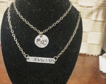 Double layered Baby boy/girl name necklace