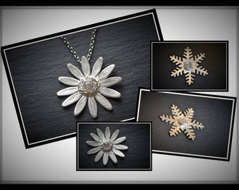 Silver Daisy or Snowflake  Pendant or Brooch - Silver Precious Metal Clay (PMC), Handmade, Necklace, Brooch - (Product Code: ACM012-17)