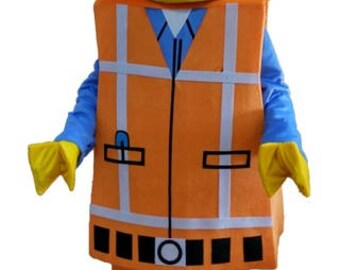 Lego Man Construction Worker Style Mascot Costume