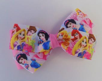 Disney Princesses Hair Bow - Hair bow for girl, Bow hair clips, Hair bows, Head bows for girls, toddler girl hair barrettes, Princess bow