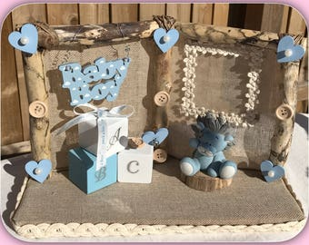 Birth of baby boy gifts, handmade frames, personalised with name/occasion with photo pocket by TalaDesigns.