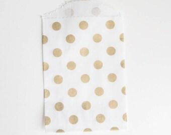 Small Polka Dot Party Treat Bags - Gold Metallic