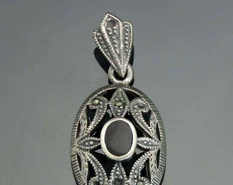 Charming Sterling Silver Marcasite Onyx Pendant