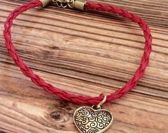 Pink cord/rope tibetan silver heart charm bracelet, faux leather, leather charm bracelet, heart bracelet, ladies gift, heart charm bracelet,