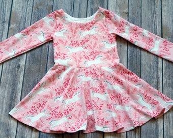 Pink Unicorn Dress. Horse Dress. Unicorn Dress. Baby Dress. Toddler Dress. Little Girl Dress. Twirl Dress. Twirly Dress. Party Dress.