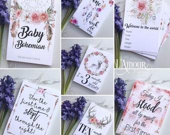Baby Milestone Cards - Bohemian