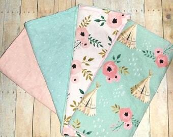 Baby Gift Girl Burp Cloth Teepee Burp Cloth Tribal Burp Cloth Minky Burp Cloths Cotton Burp Cloth Modern burp cloths Organic