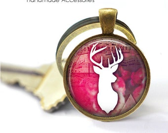 STAG SILHOUETTE Key Ring • Pink Boho Stag • Reindeer Head • Stag Shadow • Bohemian Art • Gift Under 20 • Made in Australia (K549)