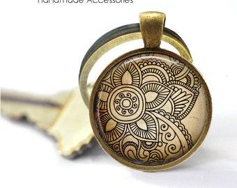 VINTAGE LOTUS FLOWER Key Ring • Simple Lotus • Hindu Peace Flower • Indian Flower • Henna Style • Gift Under 20 • Made in Australia (K566)