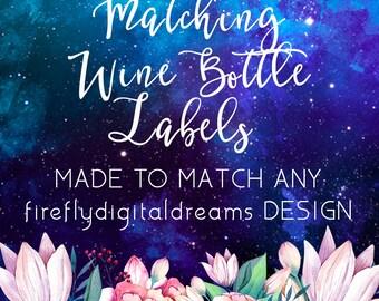 ADD MATCHING Wine or Champagne Bottle Labels, Customizable wine, mini wine, champagne, mini champagne bottle labels (sizes in description)