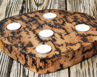 Large Wood Slice and 5 Tealight Candles w/ Lichtenberg Fractals