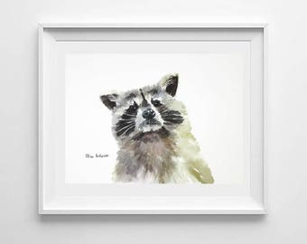 ORIGINAL watercolor painting, 11 x 15 inches, Raccoon watercolor painting, Original raccoon, Animal watercolor, Gift for her, Gift for woman