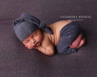 newborn boy pants, newborn boy photo prop, newborn photography prop, neutral photo prop, newborn pants, long tail hat