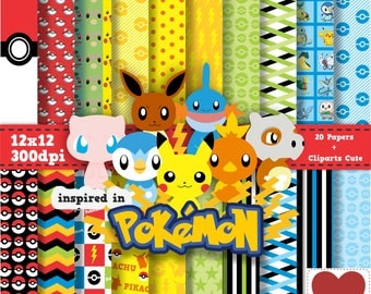 Pokemon Digital Paper Kit Digital inspired in Pokemon