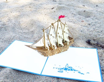 Ship 3D Pop Up Card (style 1), Farewell Card, Good Luck Card, Going Away Card, Moving Card, Thank You Card, Ship 3D Card, Boat 3D Card