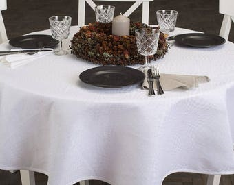 Captivating White Christmas Linen Cotton Oval Tablecloths | Round Table Cloths | Made  In Europe