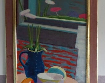 Large painting, still life of blue can on the table
