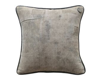 "Antique German Grain Sack Pillow from 1903 - 14"" x 14"""