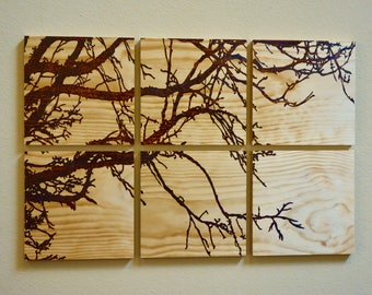 Large Tree Branches, woodburned in pine, 6-piece wall art