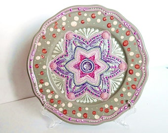 Handmade Gray Ceramic Wall Plate, Pottery Hanging Mandala Plate, Hand Painted Decorative Plate, Handmade Pottery Pink Plate for Hanging