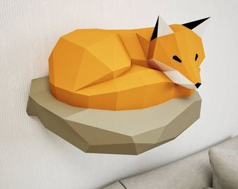 Papercraft Fox on rock, paper model, 3d paper craft, paper sculpture PDF template, low poly animals papercraft, wall home decor, pepakura
