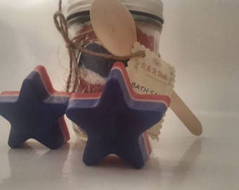 Patriotic Independence Day therapeutic Relaxing Bath Salts and star spangled banner goats milk soap
