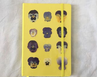 Handmade pansy pressed journal