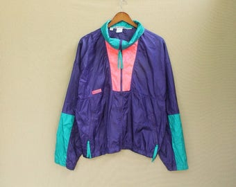 Vintage 90s columbia windbreaker columbia jacket neon jacket ski jacket