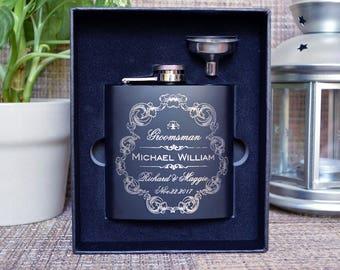 Monogrammed flask, Personalized flask, Engraved flask, Groomsman Gift, Black Matte Flask, Groomsman flask, Custom flask, hip flask. FL006
