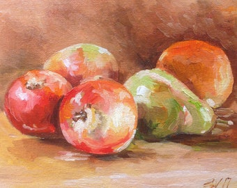 Original Painting  Pear Red Green Apple Fruit Still Life Oil