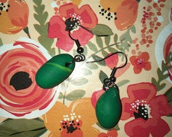 Sample piece! Green bean earrings