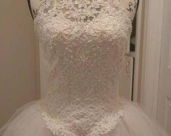 Vintage Couture Beaded Wedding Gown Full Ballgown