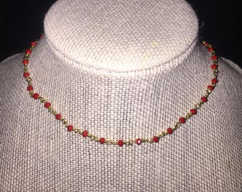 Ruby red choker
