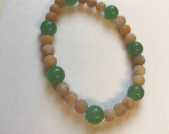 Moonstone and Green Aventurine gemstone beaded bracelet