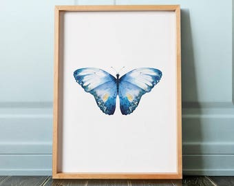 Blue Watercolor Butterfly Print, Insect Print, Insect Poster, Butterfly Poster, Boho Decor, Butterfly Art, Printable Art