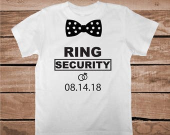 Ring Security Shirt Tee Tees Custom Date Wedding Tees Kids Ring Bearer Shirts Ring Bearer T-Shirt for Kids or Adult Bridal Shower Gift, aa89